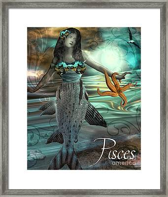 Art Nouveau Zodiac Pisces Framed Print by Mindy Sommers