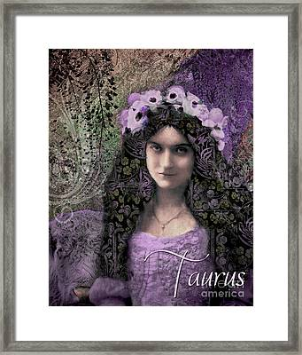 Art Nouveau Zodiac Taurus Framed Print by Mindy Sommers