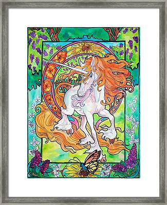 Framed Print featuring the painting Art Nuevo Unicorn by Jenn Cunningham