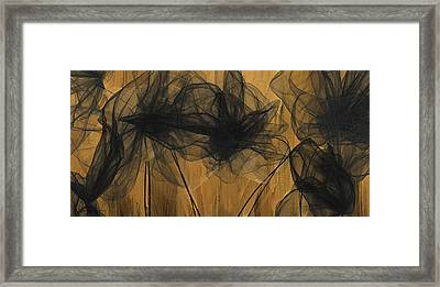 Art Of Elegance- Black And Gold Abstract- Muted Gold  Framed Print