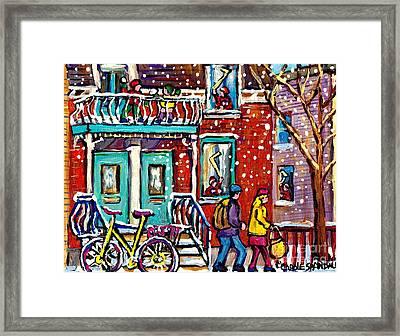 Art Of Urban Montreal Snowy Street Canadian Winter Scene Painting Carole Spandau                     Framed Print