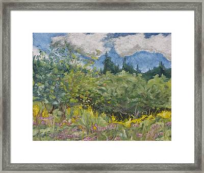 Art Oil Painting Plein Air Landscape August On The Field Framed Print