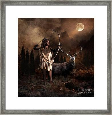 Framed Print featuring the digital art Artemis Goddess Of The Hunt by Shanina Conway