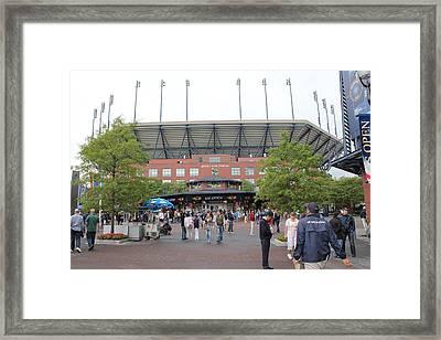 Arthur Ashe Stadium Framed Print by David Grant