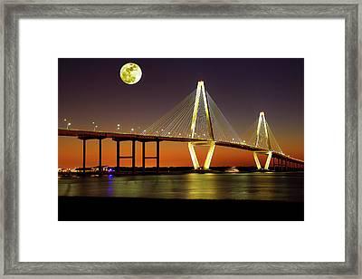 Arthur Ravenel Bridge At Night Framed Print