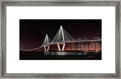 Framed Print featuring the photograph Arthur Ravenel Jr. Bridge At Midnight by George Randy Bass
