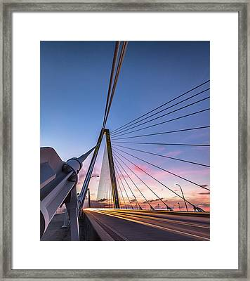 Arthur Ravenel Jr. Bridge Light Trails Framed Print