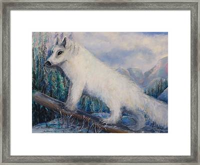 Framed Print featuring the painting Artic Fox by Bernadette Krupa