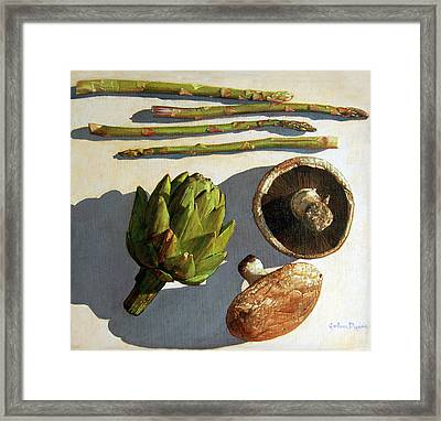Framed Print featuring the painting Artichoke And Friends by John Dyess
