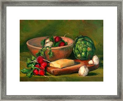 Artichoke And Radishes Framed Print by Athena  Mantle