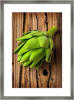 Artichoke On Old Wooden Board Framed Print by Garry Gay