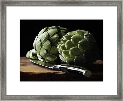 Artichokes And Knife Framed Print by Michael Lynn Adams