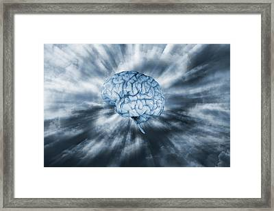 Framed Print featuring the photograph Artificial Intelligence With Human Brain by Christian Lagereek