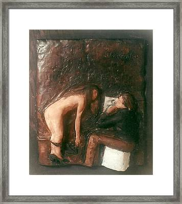 Artist And Nude Model Framed Print by Harry  Weisburd