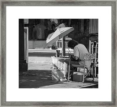 Artist - French Quarter - New Orleans - B/w 1b Framed Print by Greg Jackson