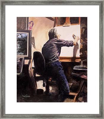 Artist In His Studio Framed Print by Douglas Trowbridge