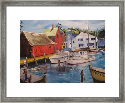 Artist In New England Dock Framed Print by Gloria Condon