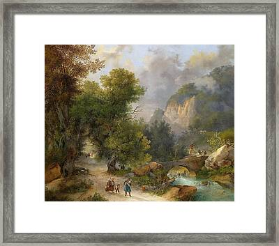 Artist Large Mountain Landscape With Farmers Returning Home Framed Print