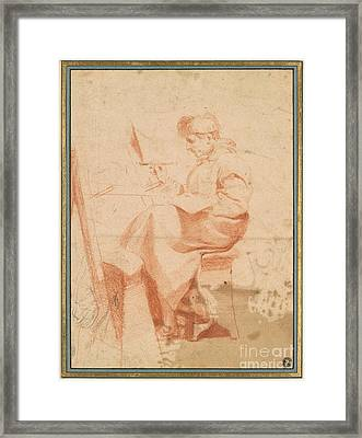 Artist Painting At An Easel Framed Print by Celestial Images