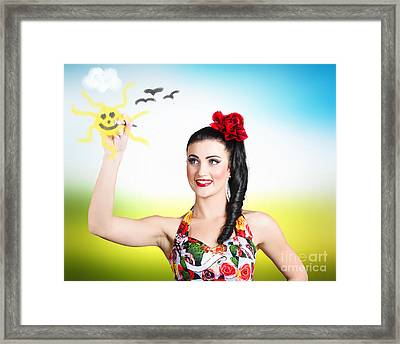 Artist Painting Beautiful Colored Summer Landscape Framed Print