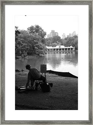 Artist Painting In Central Park Framed Print by Christopher Kirby