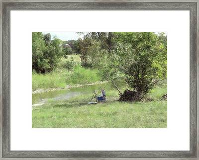 Framed Print featuring the digital art Artist Painting In Salado by Ellen Barron O'Reilly
