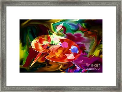 Artist Palette In Neon Colors Framed Print by Annie Zeno