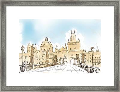 Artistic Digital Painting Of Charles Bridge Prague Framed Print