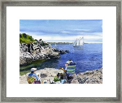 Artists And The View Framed Print by Hollis Machala