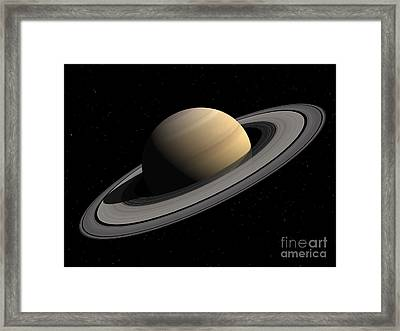 Artists Concept Of Saturn Framed Print by Walter Myers