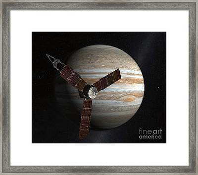 Artists Concept Of The Juno Spacecraft Framed Print by Stocktrek Images