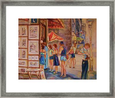 Artists Corner Rue St Jacques Framed Print by Carole Spandau