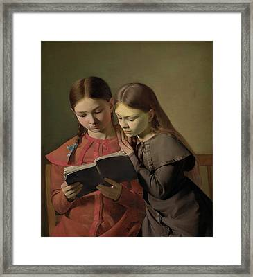 Artists' Sisters Signe And Henriette Reading A Book Framed Print by Constantin Hansen