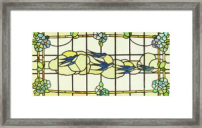 Arts And Crafts Panel Of A Group Of Swallows Before Clouds In A Border Of Flowers Framed Print