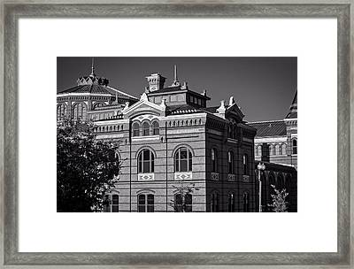 Arts And Industries Building In Black And White Framed Print