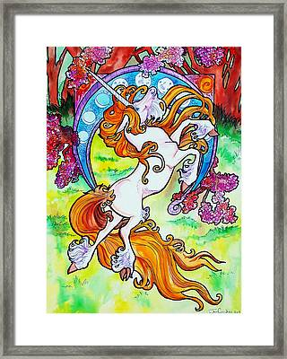 Framed Print featuring the painting Artsy Nouveau Unicorn by Jenn Cunningham