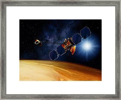 Artwork Of Mars Surveyor 2001 Orbiter Above Mars Framed Print
