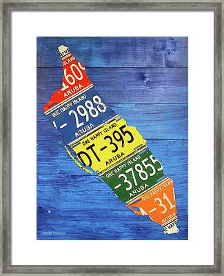 Aruba License Plate Map By Design Turnpike Framed Print by Design Turnpike