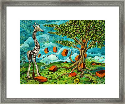 As High As Giraffe Bus Framed Print