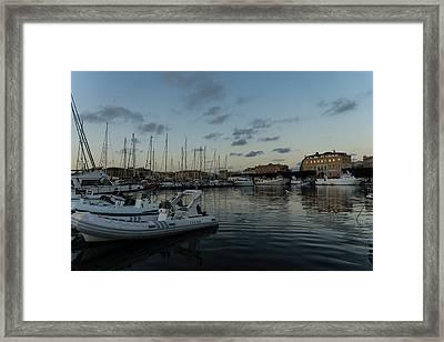 As The Evening Gently Comes - Ortygia Syracuse Sicily Grand Harbor Framed Print by Georgia Mizuleva