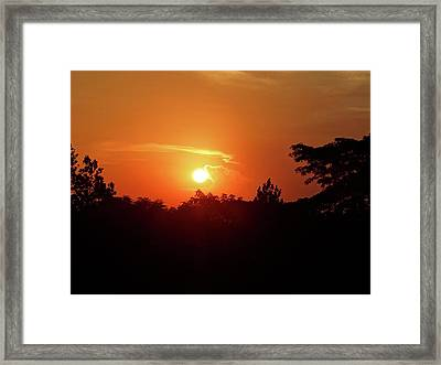 As The Sun Sets .... Red Framed Print