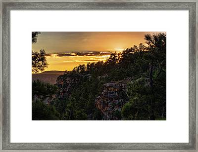 Framed Print featuring the photograph As The Sun Sets On The Rim  by Saija Lehtonen
