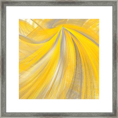As The Sun Shines - Yellow And Gray Art Framed Print