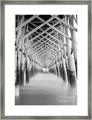 As The Water Fades Grayscale Framed Print