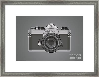 Asahi Pentax 35mm Analog Slr Camera Line Art Graphic Gray Framed Print