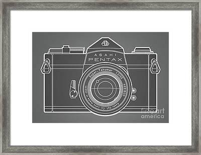 Asahi Pentax 35mm Analog Slr Camera Line Art Graphic White Outline Framed Print