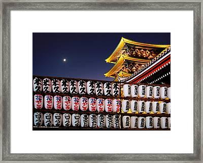 Asakusa Kannon Temple Pagoda And Lanterns At Night Framed Print by Christine Till