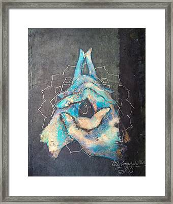 Ascension - Crown 'blue Hand' Chakra Mudra Framed Print
