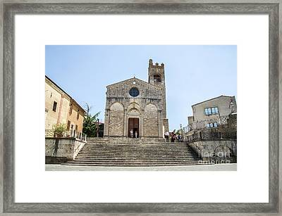 Asciano, Siena - Long Large Staircase Sant Agata Church Framed Print
