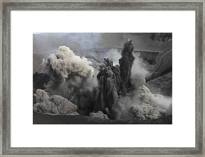 Ash Cloud Eruption On Yasur Volcano Framed Print by Richard Roscoe